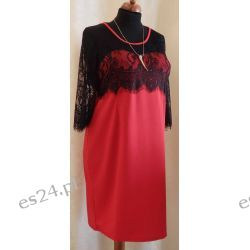 Elegancka sukienka z czarną koronką , rozmiar 48