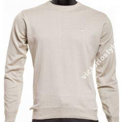 Victorio Sweter Męski Beżowy C-Neck - XL