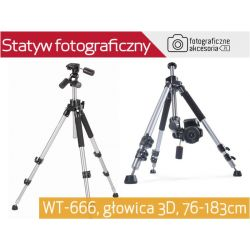 Statyw Video / Foto 183cm z głowicą 3D WT-666 Wwa