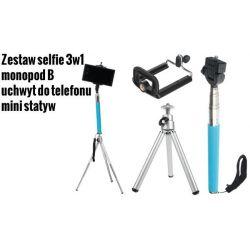 Zestaw selfie 3w1 wysięgnik uchwyt do telefonu Wwa