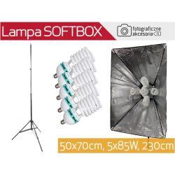 L575 ZESTAW: softbox 50x70cm, statyw 230cm, 5x85W