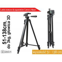 STATYW FOTO+FUTERAŁ 145cm ST-330 GŁOWICA 3D