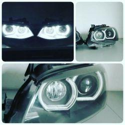 BMW - montaż mocnych białych ringów Lampy przednie