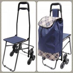 Wózek na zakupy SCHODOWY Z KRZESŁEM Torby i walizki