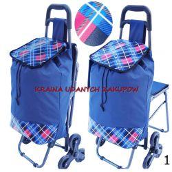 Wózek na zakupy SCHODOWY Z KRZESŁEM WAKACJE Torby i walizki