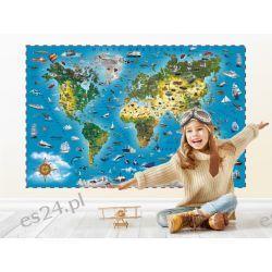 Naklejka mapa świata dla dzieci Obrazki