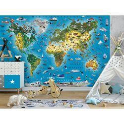 Fototapeta mapa świata dla dzieci Pokój dziecięcy