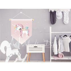 Proporczyk, obrazek, plakat do pokoju dziecka, jednorożec Obrazki