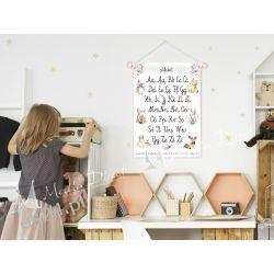 obrazek, plakat do pokoju dziecka, alfabet zwierzątka Obrazki