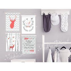 personalizowany zestaw plakatów do pokoju dziecka, jeleń Obrazki