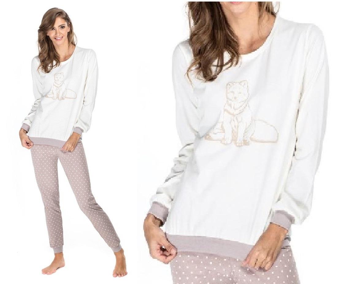 d388f923b4200b 152* ENVIE piżama damska FOXY bawełna S ecru/beż na Bazarek.pl