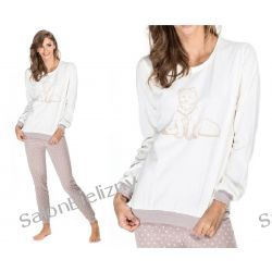 152* ENVIE piżama damska FOXY bawełna S ecru/beż Piżamy