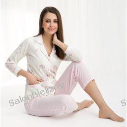 piżama LUNA 453 długa krem/róż kwiaty XXXL Piżamy