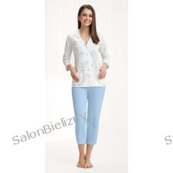 piżama LUNA 453 długa krem/niebieski kwiaty XXXL Piżamy