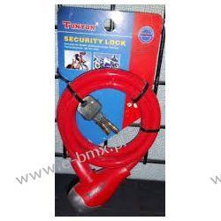Zapięcie rowerowe spirala Tonyon TY560 10x1200mm czerwone Piasty