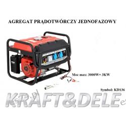 agregat prądotwórczy jednofazowy 3kW KD136