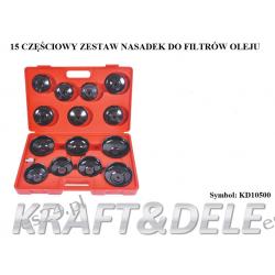 zestaw nasadek do filtrów olejowych 15 el. [Kraft&dele] Narzędzia i sprzęt warsztatowy