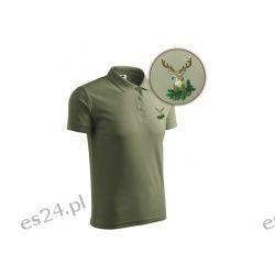 Koszulka myśliwska POLO oliwkowa z haftem Medalion z Byka Sport i Turystyka