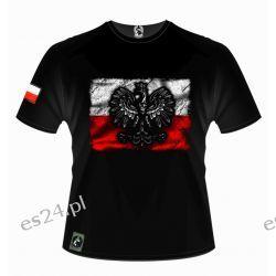 Koszulka patriotyczna - flaga Polski z godłem - Husaria Odzież, Obuwie, Dodatki