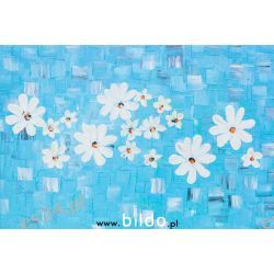 Kwiaty, obraz olejny, guba faktura, ręcznie malowany