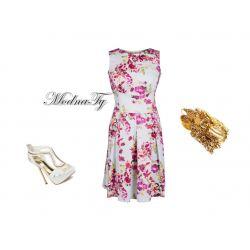 ŚLICZNA KOBIECA sukienka kwiaty KONTRAFAŁDY * 40 L