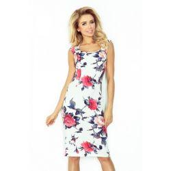Klasyczna prosta sukienka ECRU w kwiaty __ 40 L