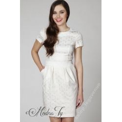 AMBIGANTE elegancka żakardowa sukienka __34 XS
