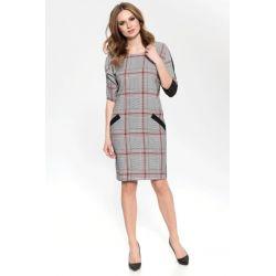 ŚWIETNA biznesowa sukienka KRATA do pracy___ 40 L
