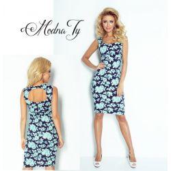 ROMANTYCZNA klasyczna sukienka KWIATY ___ 42 XL