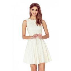 Elegancka żakardowa sukienka WESELE __ 42 XL ecru