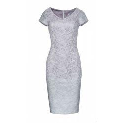 ELEGANCKA szara sukienka koronkowa WESELE __ 42 XL