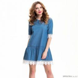 Luźna sukienka al'a jeans z koronką polska__42 XL
