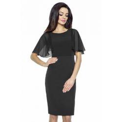 KM240-1 sukienka z szyfonowym rękawkiem 36 S