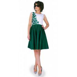 KOLORY  Sukienka z koronkowym kwiatem WESELE 42 XL