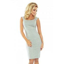 NUM 53-32 Dopasowana sukienka w jodełkę  40 L