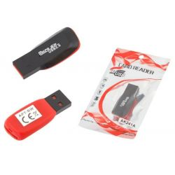 CZYTNIK ADAPTER KART MICRO SD USB czarno-czerwony