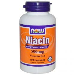 NOW FOODS NIACYNA, WIT PP B3 500 mg, 100 kapsulek
