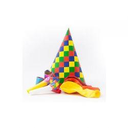 Zestaw urodzinowy czapeczki balony trąbki 3217