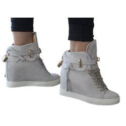 BOTKI VICES Sneakersy na koturnie SZARE KŁÓDKA  Botki