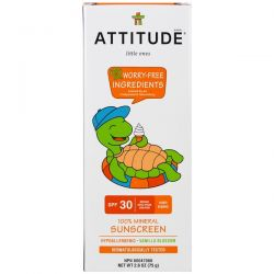 ATTITUDE, Little Ones, 100% Mineral Sunscreen, SPF 30, Vanilla Blossom, 2.6 oz (75 g) Zdrowie, medycyna