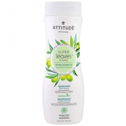 ATTITUDE, Super Leaves Science, Natural Shower Gel, Nourishing, Olive Leaves, 16 oz (473 ml) Zdrowie, medycyna