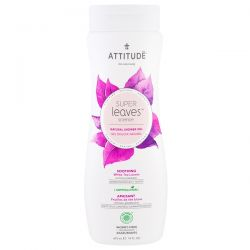 ATTITUDE, Super Leaves Science, Natural Shower Gel, Soothing, White Tea Leaves, 16 oz (473 ml) Zdrowie, medycyna