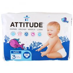 ATTITUDE, Diapers, Midi 3, 11-24 lbs (5-11 kg), 30 Diapers Zdrowie, medycyna