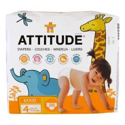 ATTITUDE, Diapers, Maxi, Size 4, 20-31 lbs (9-14 kg), 26 Diapers Zdrowie, medycyna