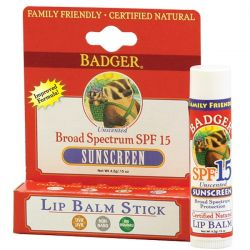 Badger Company, Sunscreen Lip Balm Stick, SPF 15, Unscented, .15 oz (4.2 g) Historyczne