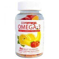 Coromega, Omega-3, Fruit Gummies for Adults, Orange, Lemon, Strawberry Banana, 60 Fruit Gummies