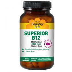 Country Life, Superior B12, Berry Flavor, 3000 mcg, 50 Sublingual Lozenges Historyczne