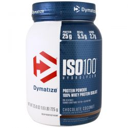 Dymatize Nutrition, ISO 100, Hydrolyzed, 100% Whey Protein Isolate Powder, Chocolate Coconut, 25.6 oz (725 g)
