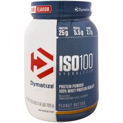 Dymatize Nutrition, ISO 100 Hydrolyzed, 100% Whey Protein Isolate, Peanut Butter, 25.6 oz (725 g)