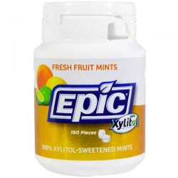 Epic Dental, 100% Xylitol Sweetened, Fresh Fruit Mints, 180 Pieces Country